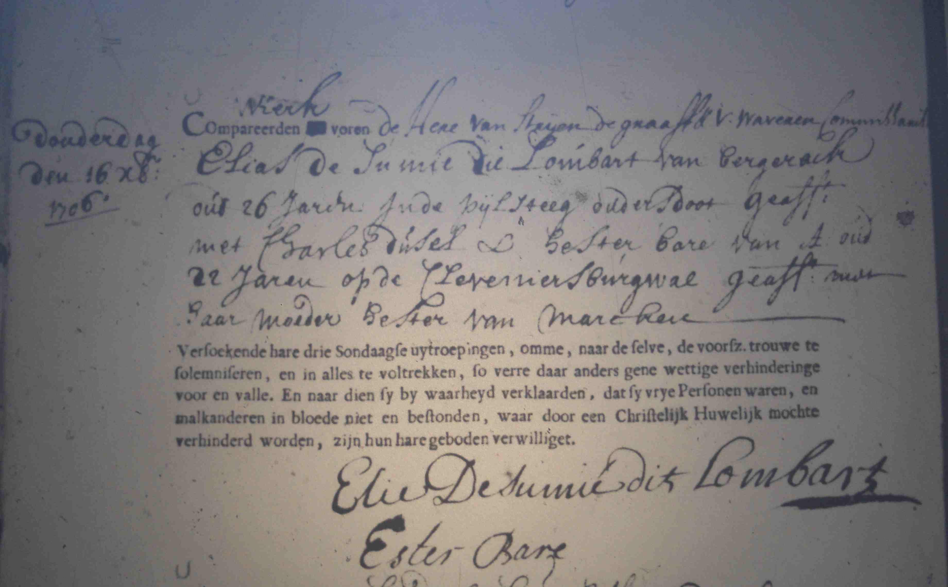 Trouwen 1706 12 16 Huwelijk Elie Lombart Ester Bare